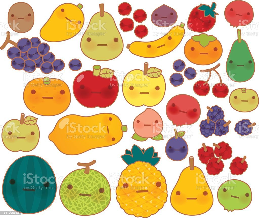 Collection of lovely baby fruit and vegetable doodle icon vector art illustration