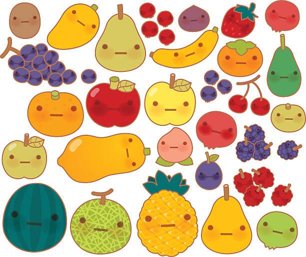 illustrazioni stock, clip art, cartoni animati e icone di tendenza di collection of lovely baby fruit and vegetable doodle icon - pesche bambino