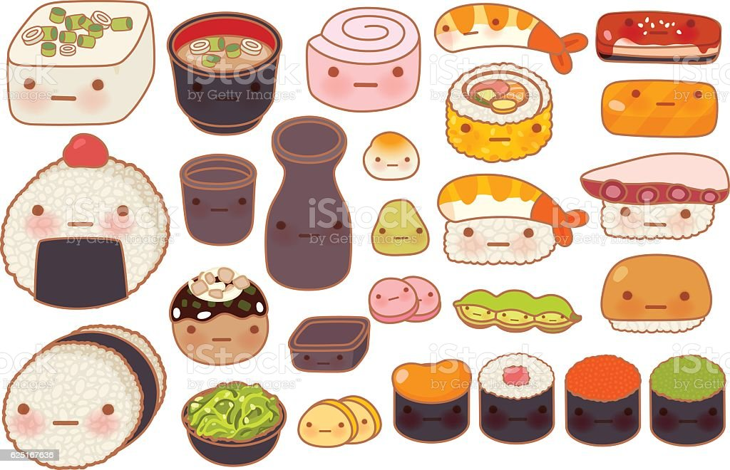Collection of lovely baby japanese oriental food doodle icon, cu vector art illustration