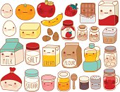 Collection of lovely cake ingredient icon , cute egg , adorable