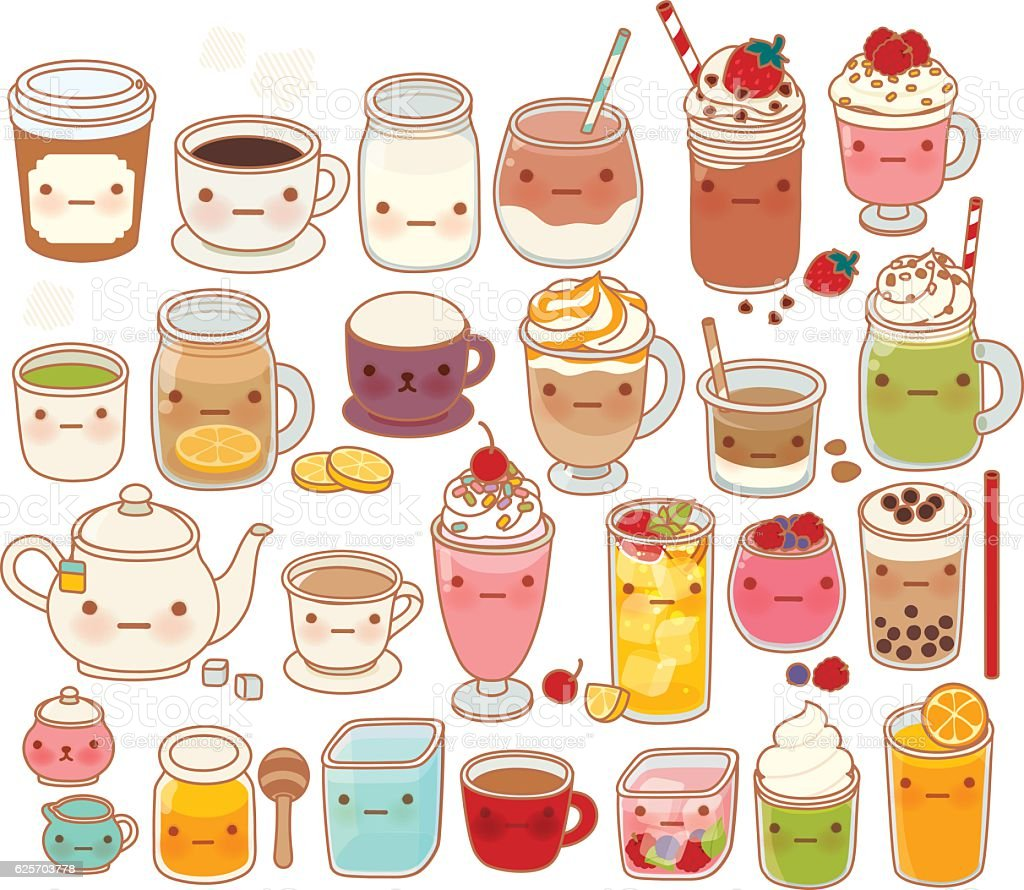 Collection of lovely hot and cold drink icon, cute tea vector art illustration