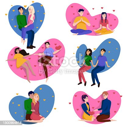 istock Collection of loving couples for Valentine's Day isolated on white background. Couple on a romantic date. Vector illustration 1300964814