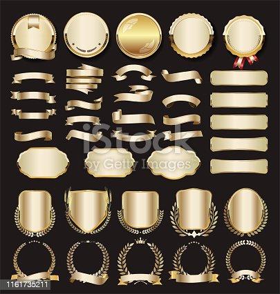 Collection of luxury golden design elements badges labels and laurels