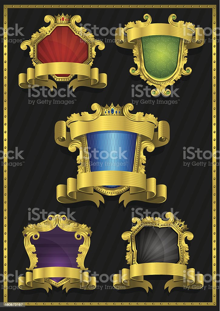 Collection of Luxury Golden Labels royalty-free stock vector art