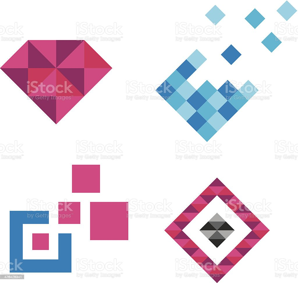 Collection of luxury royal diamond jewelry logo Pixels royalty-free stock vector art
