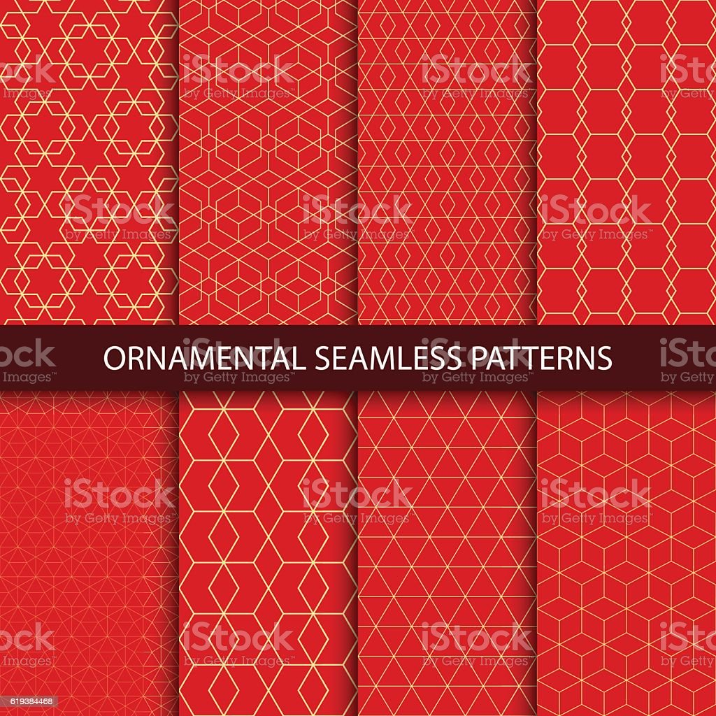 Collection of luxury seamless ornamental patterns. vector art illustration