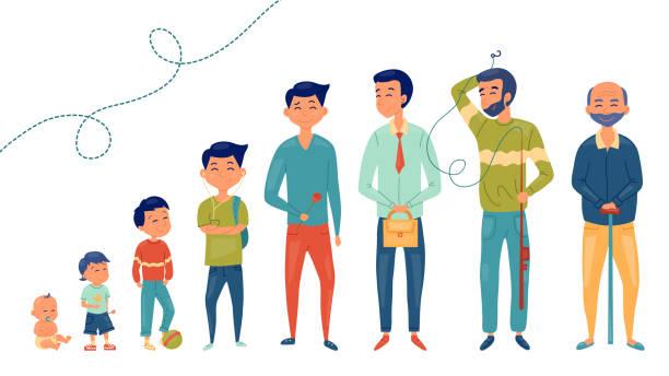 ilustrações, clipart, desenhos animados e ícones de coleção da idade masculina. desenvolvimento de homens da criança aos idosos. personagens masculinos. o processo de envelhecimento. ilustração do vetor - vida de estudante