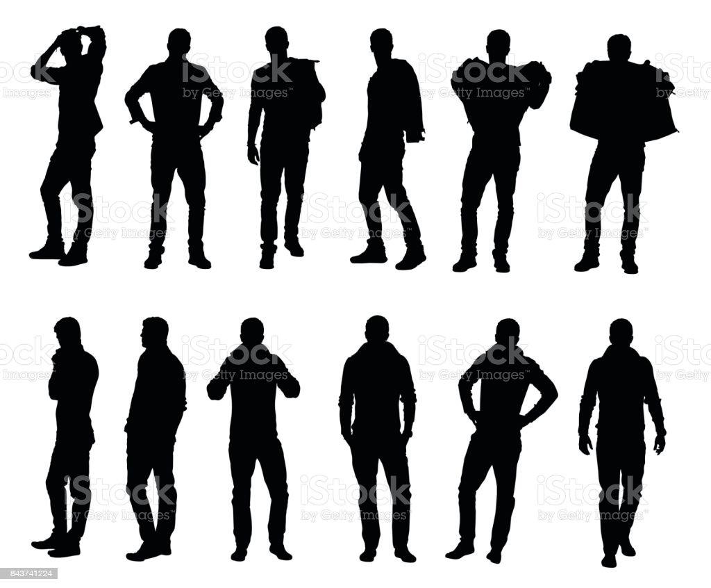 Collection of male fashion model wearing sweater or jacket in different winter warm clothes collection of male fashion model wearing sweater or jacket in different winter warm clothes - immagini vettoriali stock e altre immagini di abbigliamento royalty-free