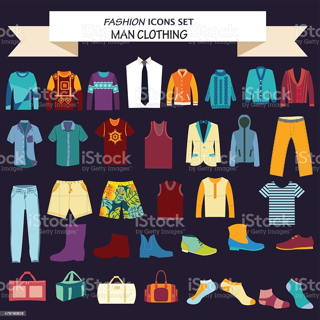 collection of man  clothes and accessories vector art illustration