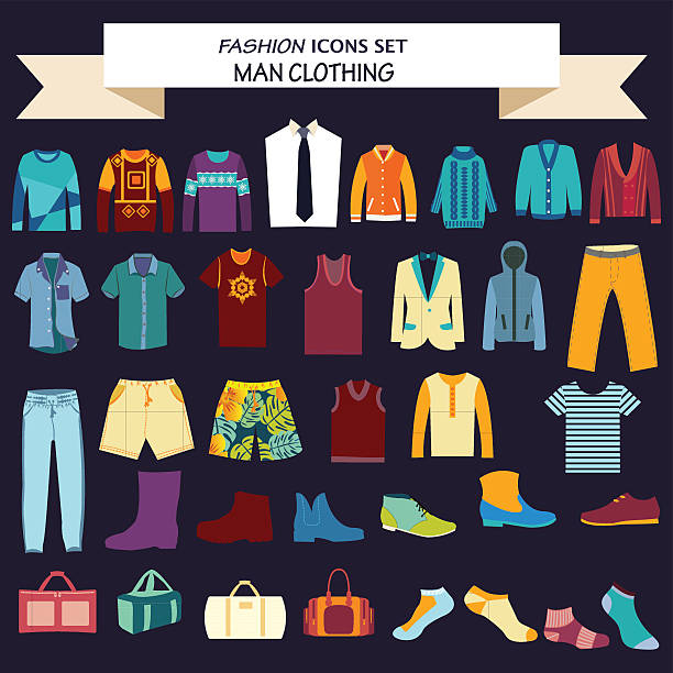 collection of man  clothes and accessories - mens fashion stock illustrations, clip art, cartoons, & icons