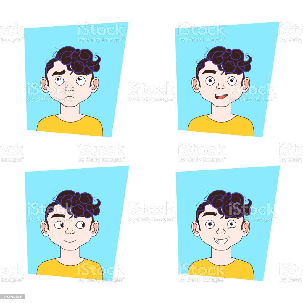 男顔の表情集男別の感情セット 1人のベクターアート素材や画像を多数ご