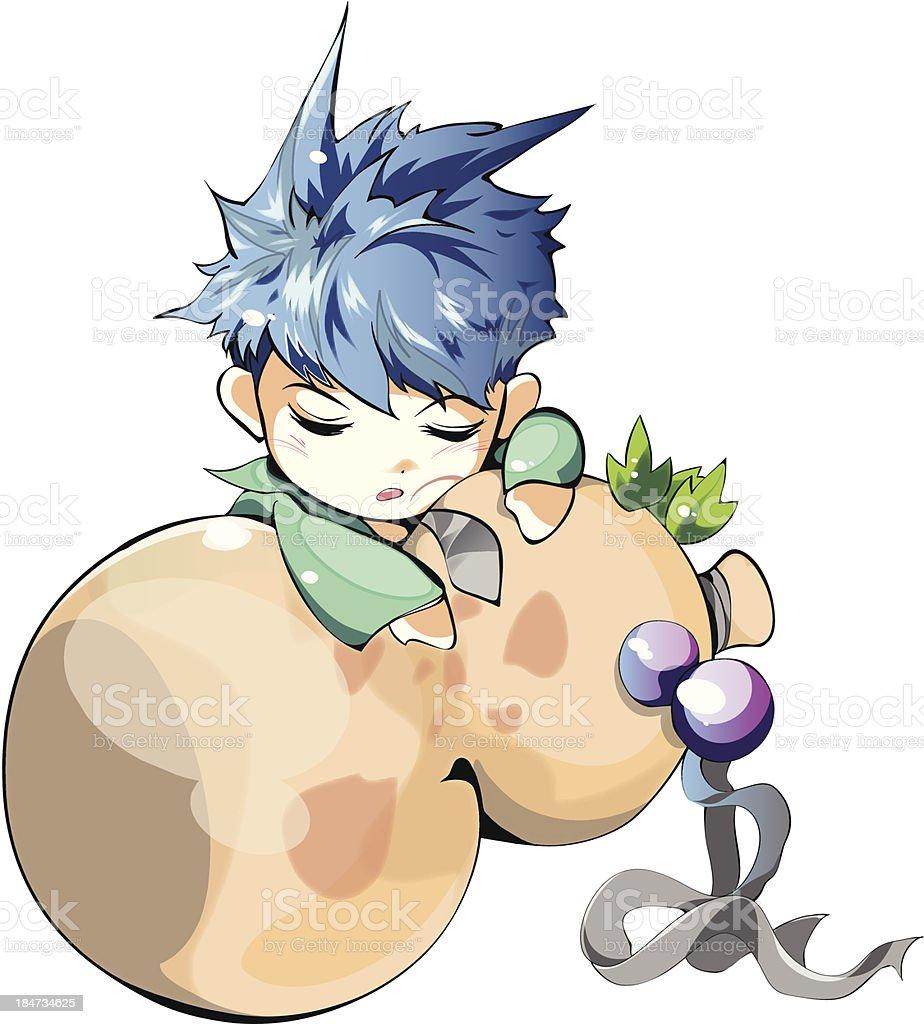 Collection of Manga Character - Aqua Warrior (1) royalty-free stock vector art