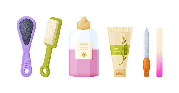 Collection of manicure, pedicure tools and cosmetics. Set of equipment for nails legs hands care. Domestic or salon beauty procedure with nail polish, file, hand cream