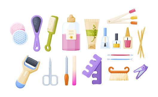 Collection of manicure, pedicure tools and cosmetics. Set of equipment for nails legs hands care