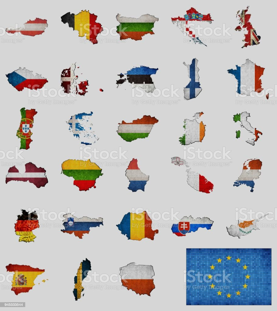 Collection Of Maps And Flags Of The European Union Countries Stock