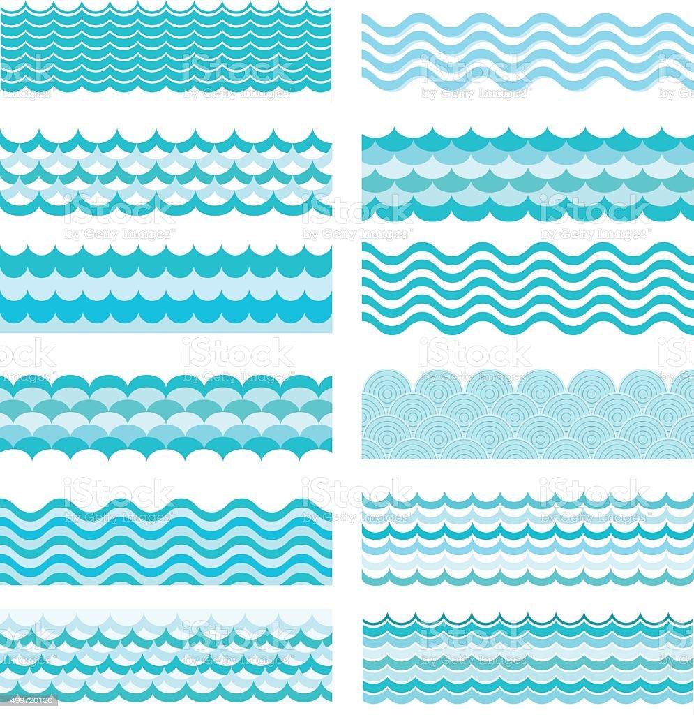 Collection of marine waves. Sea wavy, ocean art water design. vector art illustration