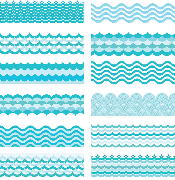 collection of marine waves. sea wavy, ocean art water design. - squiggle line stock illustrations