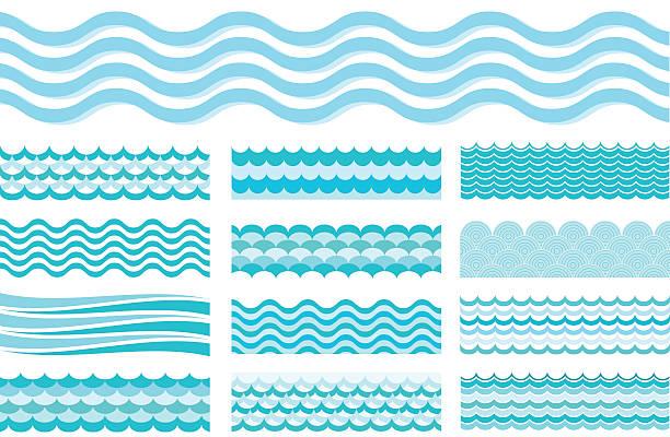kolekcja morskie fale. falowane morze, ocean art wody. - fala woda stock illustrations
