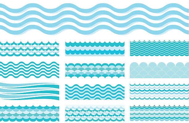 Collection of marine waves. Sea wavy, ocean art water design. Collection of marine waves. Sea wavy, ocean art water design. Vector illustration squiggle stock illustrations