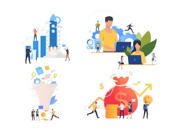 illustrations, cliparts, dessins animés et icônes de collection de responsables marketing travaillant sur la stratégie - entrepreneur