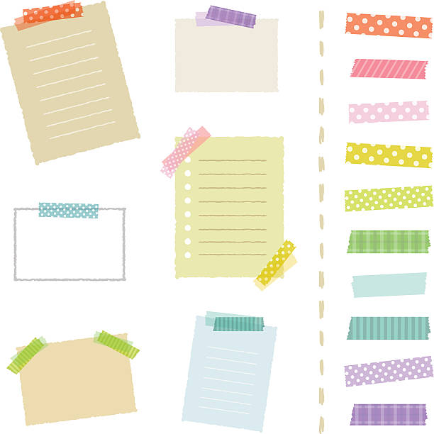 Collection of masking tape pieces and papers. Collection of masking tape pieces and papers, isolated on white. masking tape stock illustrations