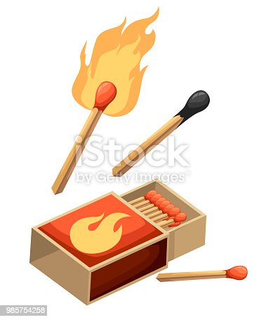 Collection of matches. Burning match with fire, opened matchbox, burnt matchstick. Flat design style. Vector illustration isolated on white background.