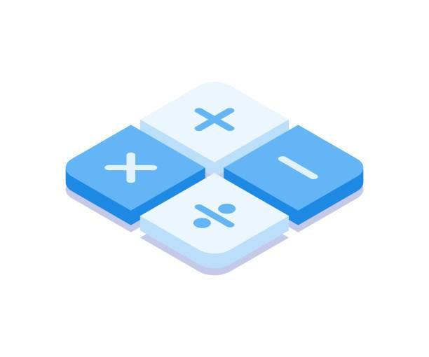 ilustraciones, imágenes clip art, dibujos animados e iconos de stock de colección de símbolos matemáticos. ilustración vectorial en estilo 3d isométrico plano. - calculator