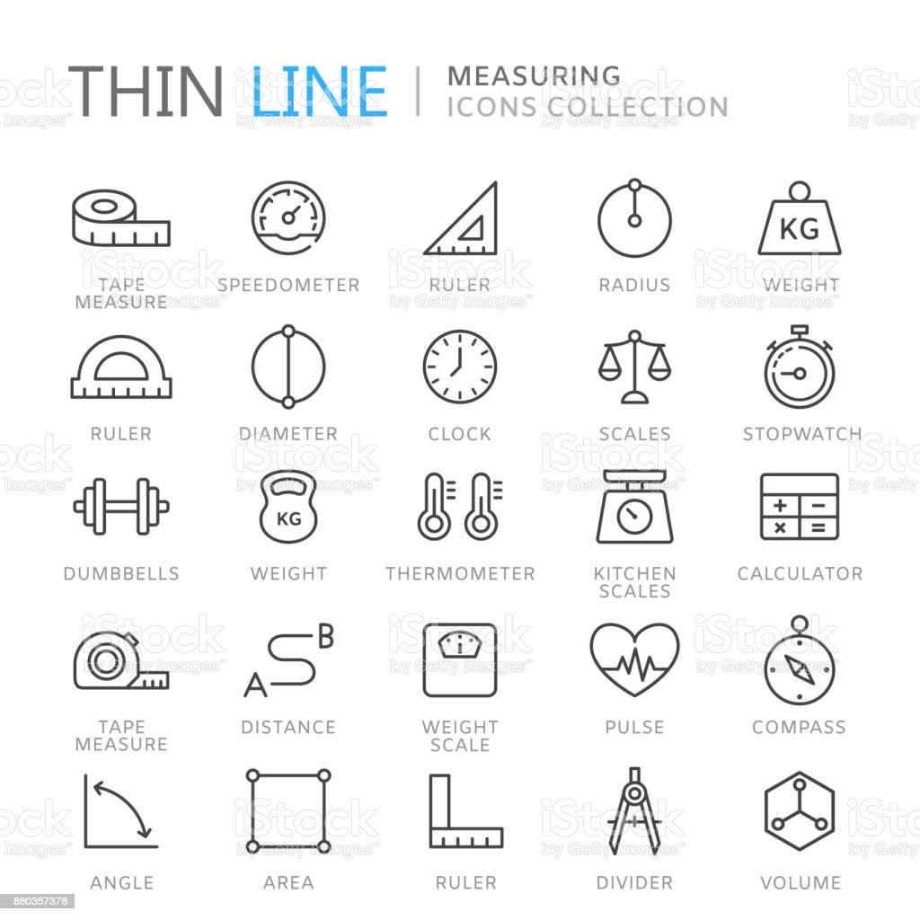 Collection of measuring thin line icons vector art illustration