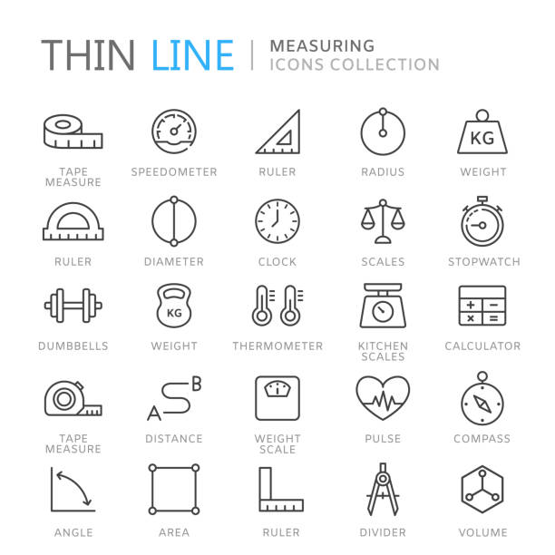 collection of measuring thin line icons - waga opis fizyczny stock illustrations