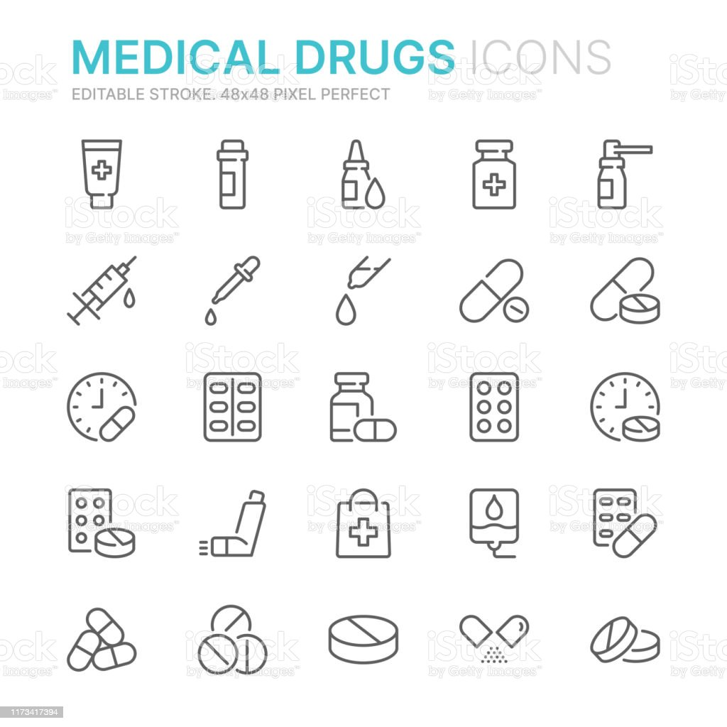 Collection of medical drugs related line icons. 48x48 Pixel Perfect. Editable stroke - arte vettoriale royalty-free di Accudire
