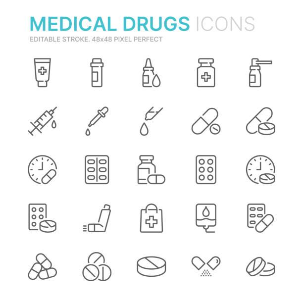 zbieranie leków związanych z ikonami linii. 48x48 pixel perfect. edytowalny obrys - kapsułka stock illustrations