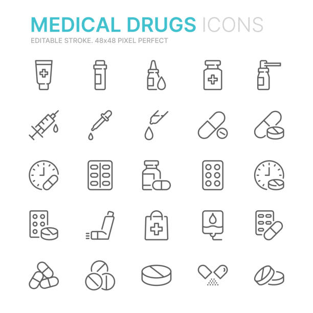 illustrazioni stock, clip art, cartoni animati e icone di tendenza di collection of medical drugs related line icons. 48x48 pixel perfect. editable stroke - farmaco