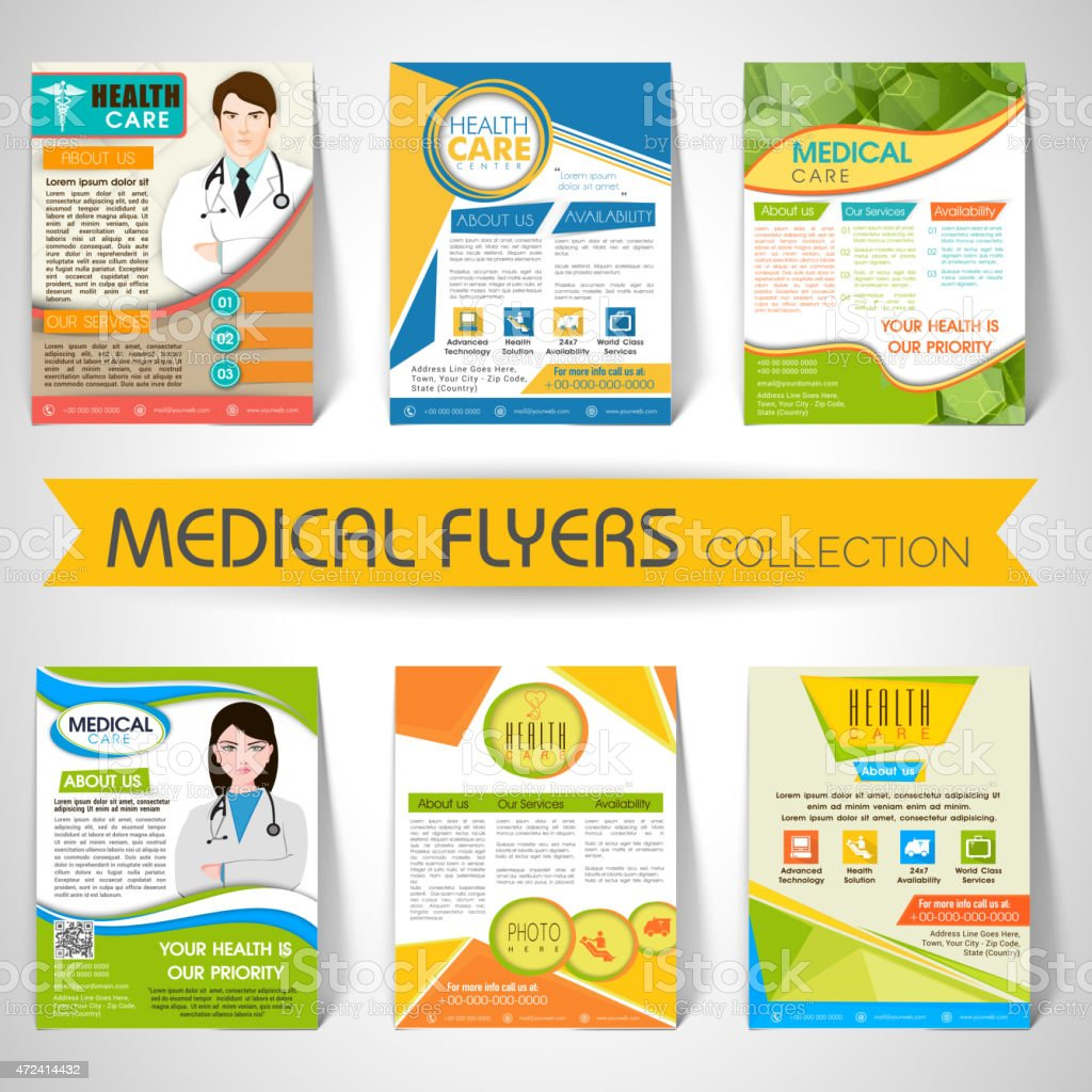 Collection of medical flyers templates and banners stock vector art collection of medical flyers templates and banners royalty free collection of medical flyers saigontimesfo