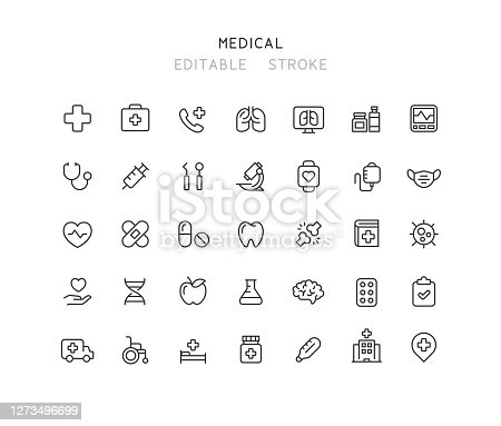 35 Collection of medical line vector icons. Editable stroke.