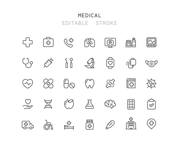 35 Collection Of Medical Line Icons Editable Stroke 35 Collection of medical line vector icons. Editable stroke. medical stock illustrations