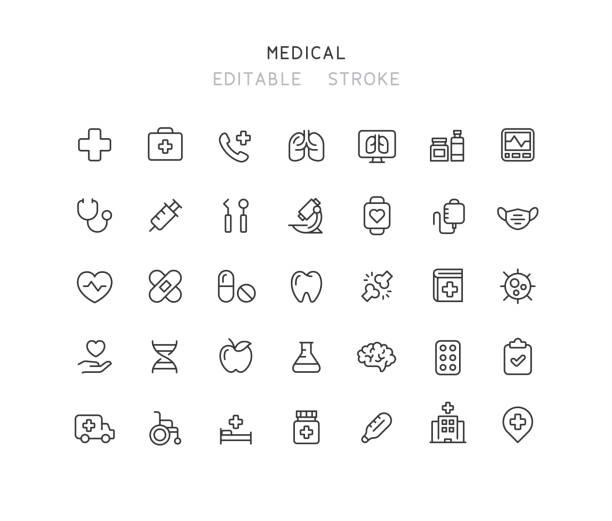 ilustrações de stock, clip art, desenhos animados e ícones de 35 collection of medical line icons editable stroke - healthcare