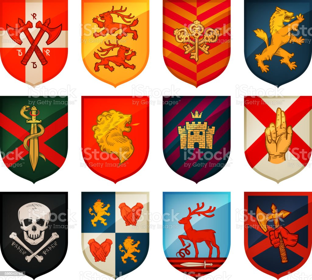 Collection of medieval shields and coat  arms. Kingdom, empire, castle vector art illustration