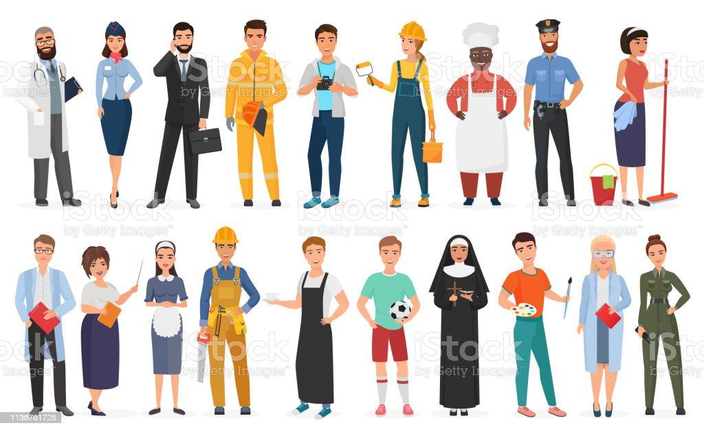 Insamling av män och kvinnor människor arbetare av olika yrken eller yrke bär professionell uniform uppsättning vektor illustration. - Royaltyfri Affärsman vektorgrafik
