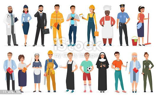 Collection of men and women people workers of various different occupations or profession wearing professional uniform set vector illustration.