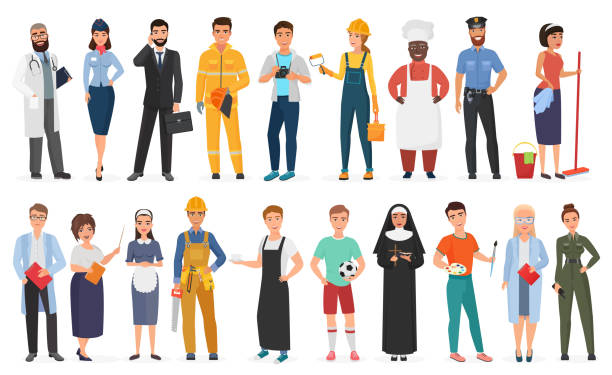 illustrazioni stock, clip art, cartoni animati e icone di tendenza di collection of men and women people workers of various different occupations or profession wearing professional uniform set vector illustration. - lavoro