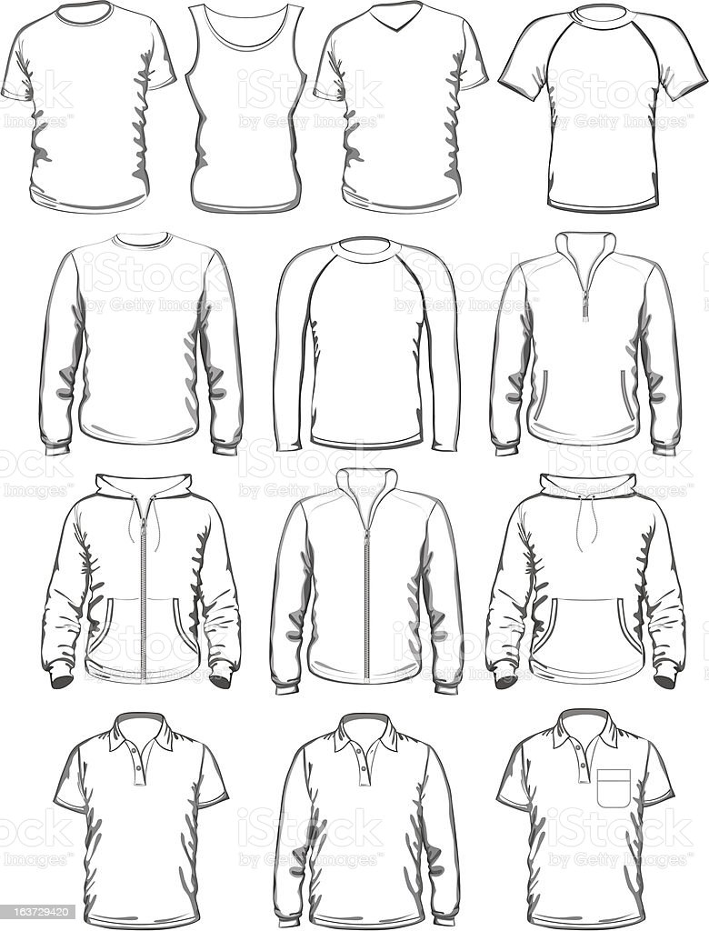 Collection of men clothes outline templates royalty-free stock vector art
