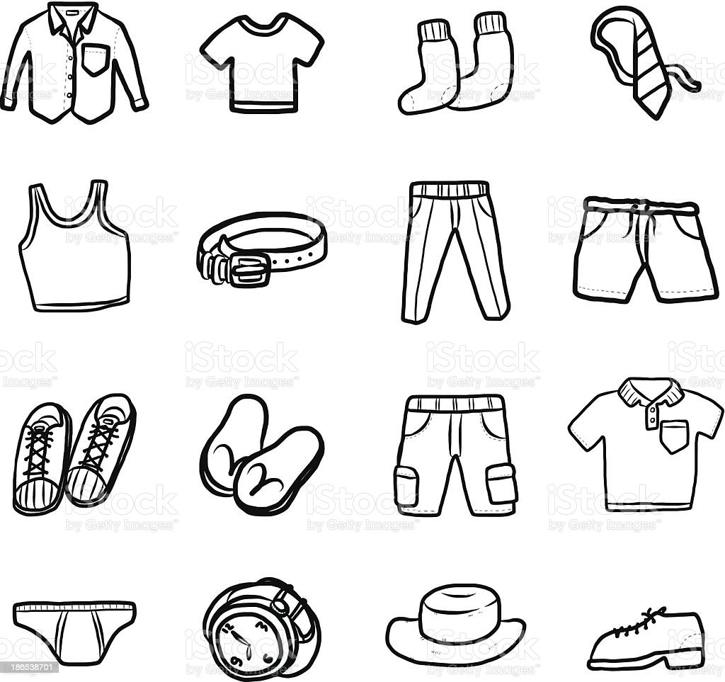 collection of men clothes royalty-free stock vector art