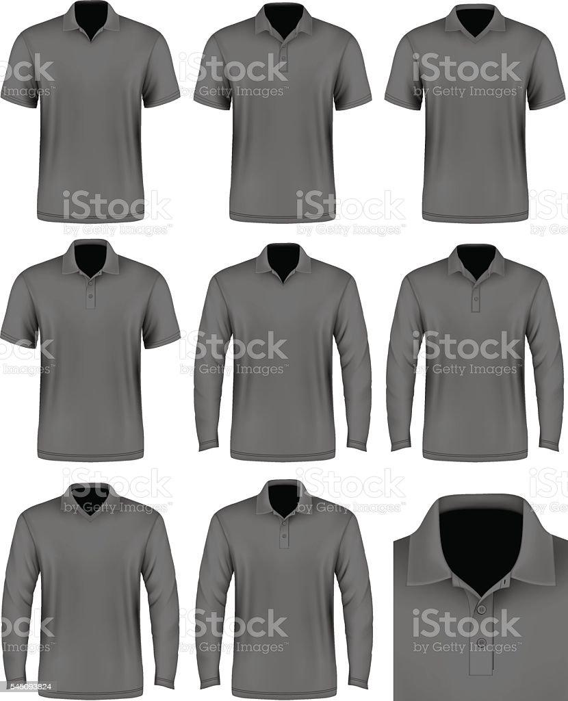 Collection of men polo shirt. vector art illustration