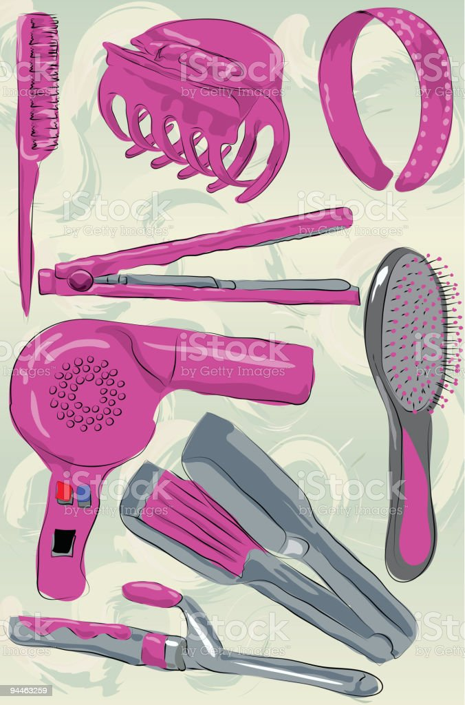 Collection of messy hand drawn hair care products royalty-free stock vector art