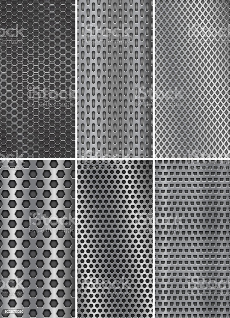 Collection of metal backgrounds. Perforated steel textures. Flyer templates vector art illustration