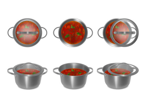 sammlung von metall töpfe mit suppe und glas deckel in verschiedenen winkel, seite, oben, getrennt. satz von stahl töpfe. realistischen stil. vektor-illustration. - winkelküche stock-grafiken, -clipart, -cartoons und -symbole