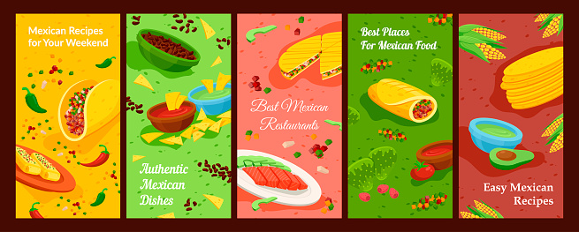 Collection of Mexican food banner vector flat illustration vertical placard with traditional food