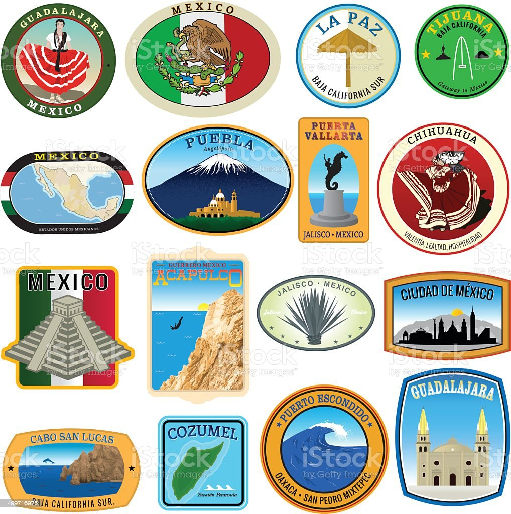 Collection of Mexican Landmark Decals vector art illustration