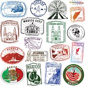 Decal Collection of Mexican Landmarks as Passport Style Stamps