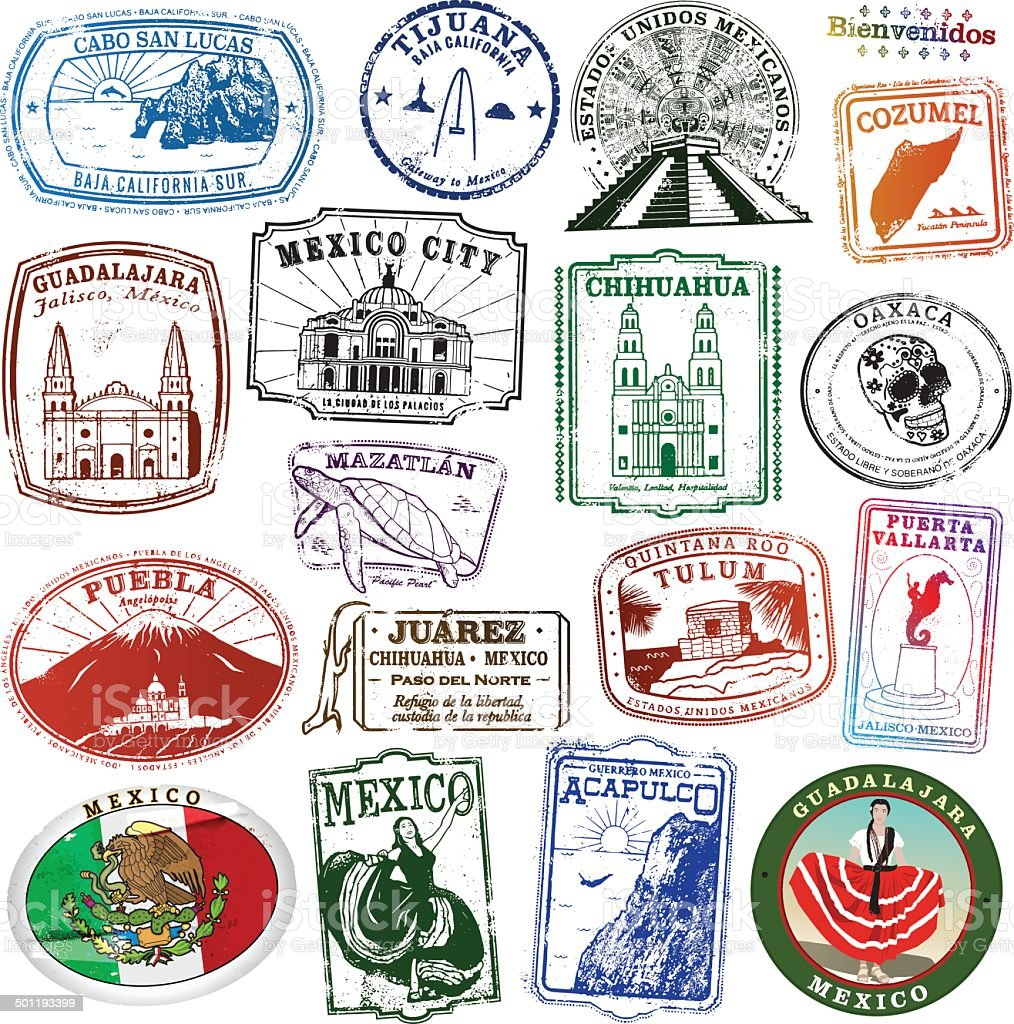 Collection of Mexican Landmark Stamps vector art illustration